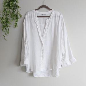 (Zara) White Linen V-Neck Flowy Blouse XXL